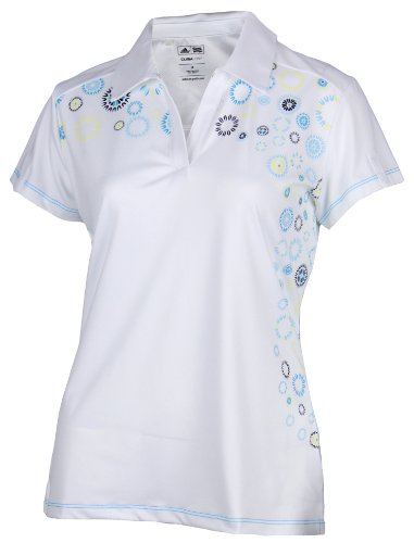 Adidas Women's Climalite Starburst Print Athletic Polo Shirt, White