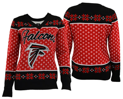 Forever Collectibles NFL Women's Atlanta Falcons Big Logo V-Neck Sweater