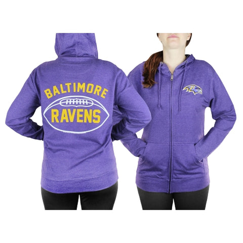 Baltimore Ravens NFL Womens Double Coverage Full Zip French Terry Hoodie