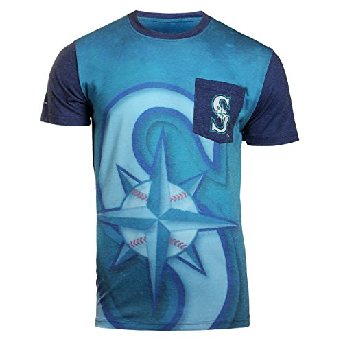 KLEW MLB Men's Seattle Mariners Big Graphics Pocket Logo Tee T-shirt, Blue