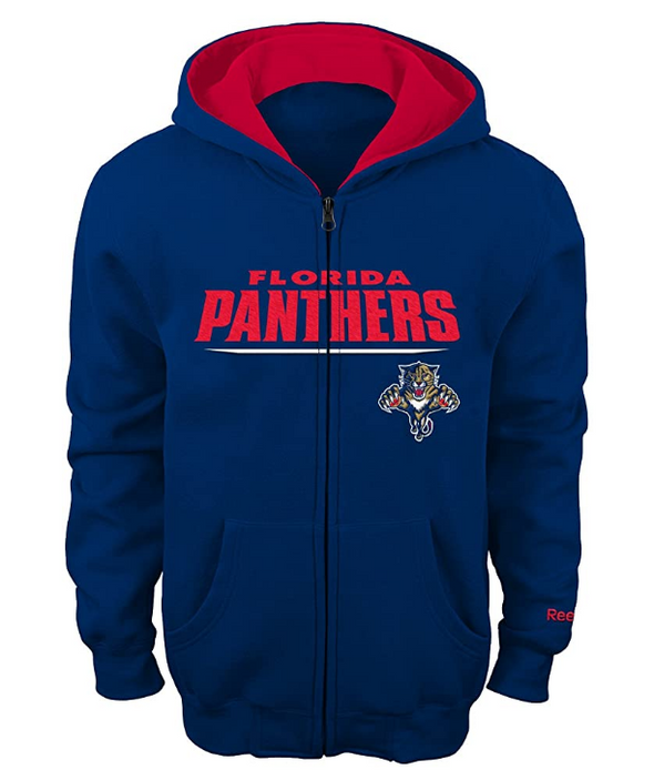 Reebok NHL Youth Florida Panthers Stated Full Zip Hoodie, Navy