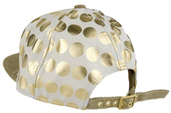 Flat Fitty Wiz Khalifa Gold Polka Dots Cap Hat, Gold