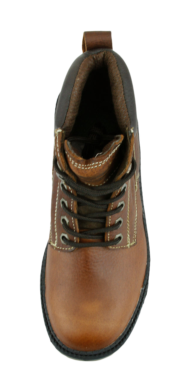 NFL Men's Miami Dolphins Rounded Steel Toe Lace up Leather Work Boots - Brown