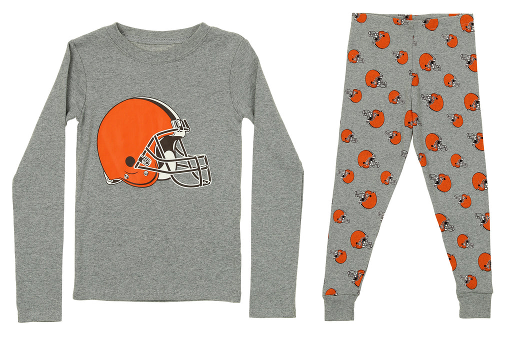 91725f6f OuterStuff NFL Kids Cleveland Browns Long Sleeve Tee & Pant Sleep Set