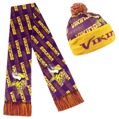 Forever Collectibles NFL Adult's Minnesota Vikings Light Up Beanie And Scarf Set