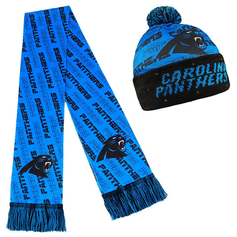 reputable site 766fb fd794 Forever Collectibles NFL Adult s Carolina Panthers Light Up Beanie And  Scarf Set