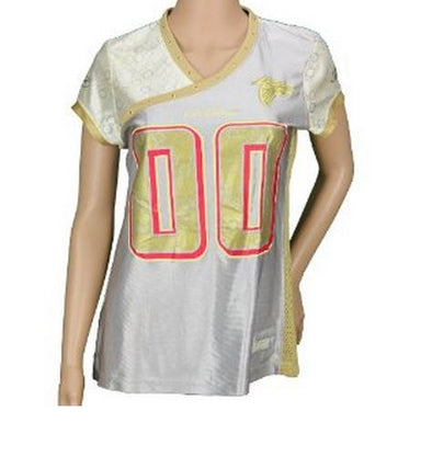 NFL Football Women's Atlanta Falcons Fashion Jersey - Silver and Gold