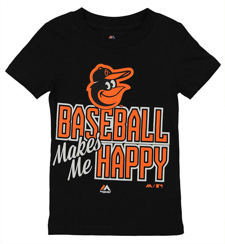 Majestic MLB Little Girl's Baltimore Orioles Baseball Makes Me Happy Tee