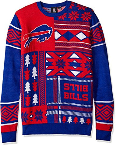 Klew NFL Men's Buffalo Bills Patches Ugly Sweater, Blue/Red