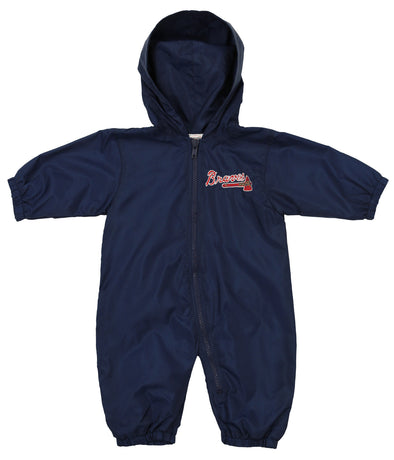Atlanta Braves MLB Boys Girls Infant Newborn Nylon Wind Coveralls, Navy