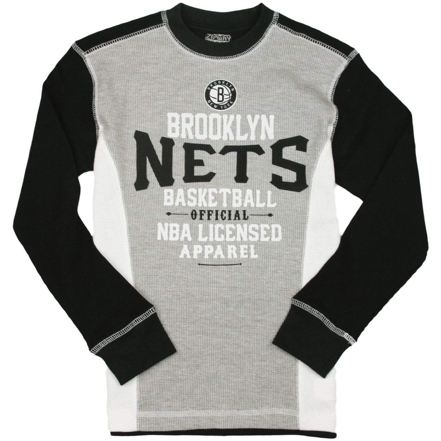 NBA by Outerstuff Boys Big Black Out Long Sleeve Waffle Knit Thermal