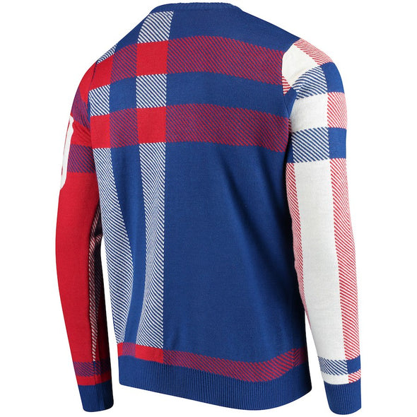 Forever Collectibles NFL Men's New York Giants Plaid Crew Neck Sweater
