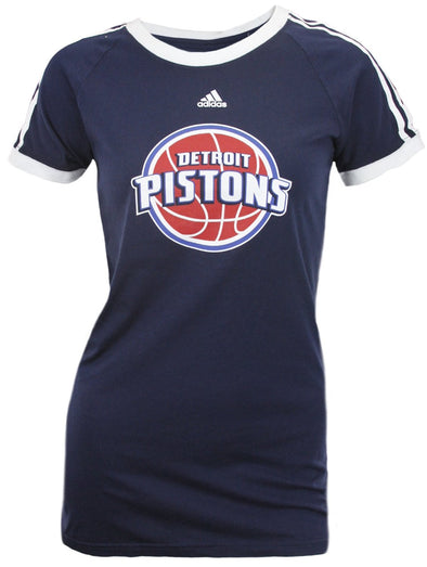 Adidas NBA Basketball Women's Detroit Pistons Short Sleeve Raglan T-Shirt, Navy