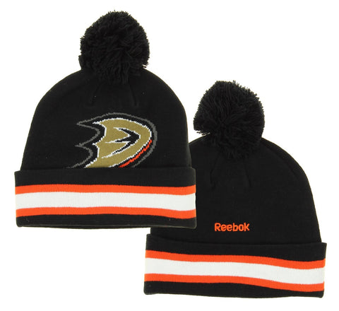 NHL Reebok Anaheim Ducks Youth Face Off Cuffed Knit Winter Hat With Pom, Black