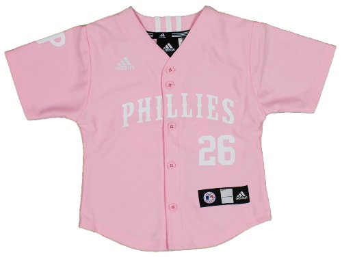new product f1ed2 2677f MLB Pink Philadelphia Phillies Youth Chase Utley Jersey By Adidas