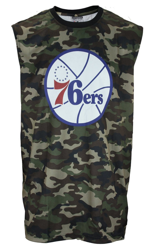 Zipway NBA Men's Big & Tall Philadelphia 76ers Sleeveless Camo Muscle Shirt, Camo