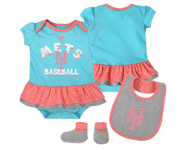 Outerstuff MLB Infant Girl New York Mets Wild Card Creeper, Bib & Bootie Set