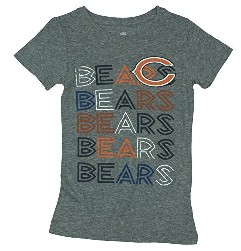 NFL Football Youth Girls Chicago Bears Short Sleeve Tri-Blend Tee T-Shirt, Grey