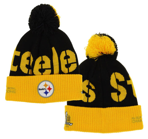 NFL Youth Pittsburgh Steelers Cuffed Pom Knit SB50 Hat, One size