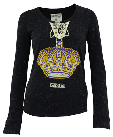 CCM NHL Women's Los Angeles Kings Lace Up Henley Shirt