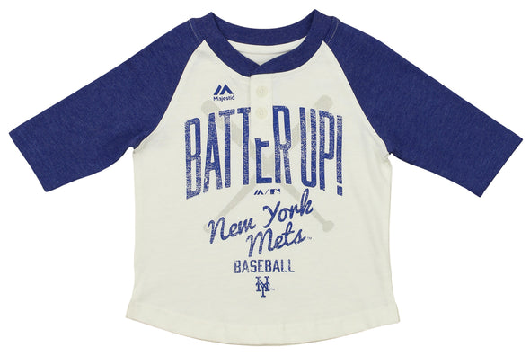 Outerstuff MLB Toddler Girls New York Mets 3/4 Sleeve Henley Tee