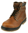 NFL Men's Seattle Seahawks Rounded Steel Toe Lace Up Leather Work Boots - Brown