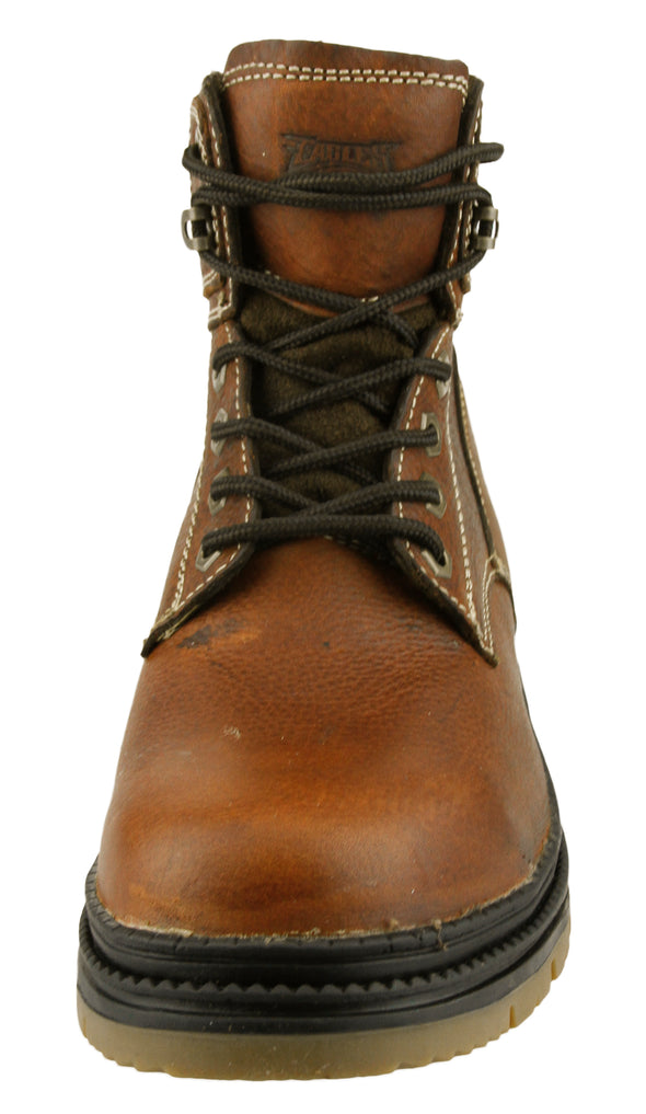 NFL Men's Philadelphia Eagles Rounded Steel Toe Lace Up Leather Work Boots - Brown