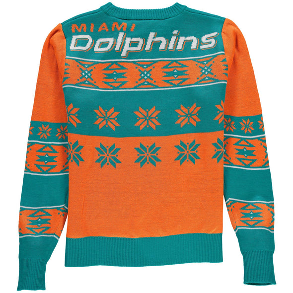 Forever Collectibles NFL Unisex Miami Dolphins Big Logo Ugly Sweater