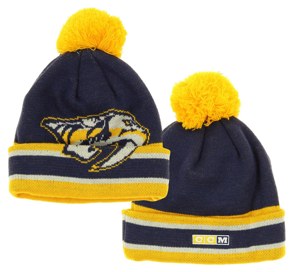 premium selection b8a07 360dc NHL Reebok Nashville Predators Youth Deke Cuffed Knit Winter Hat With Pom,  Navy