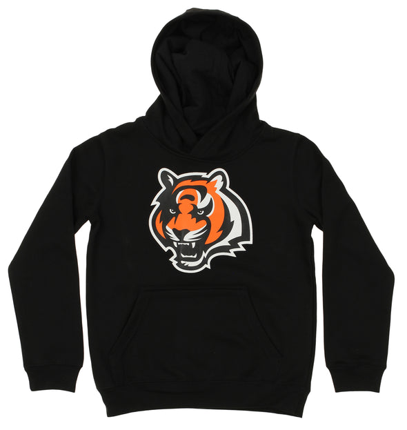 OuterStuff NFL Youth Cincinnati Bengals Primary Team Logo Fleece Hoodie, Black
