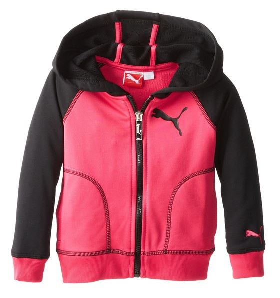 Puma Kids / Youth Girls Active Core Raglan Zip Hoodie - Purple Pink & Black