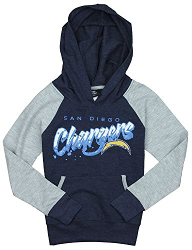 NFL Youth Girl's San Diego Chargers Crafted Pullover Sweatshirt Hoodie, Navy