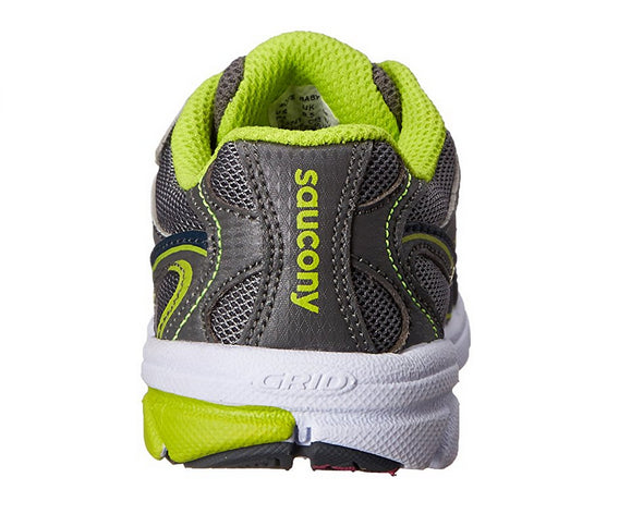 Saucony Toddler/Little Kid Baby Ride Sneaker, Grey/Lime