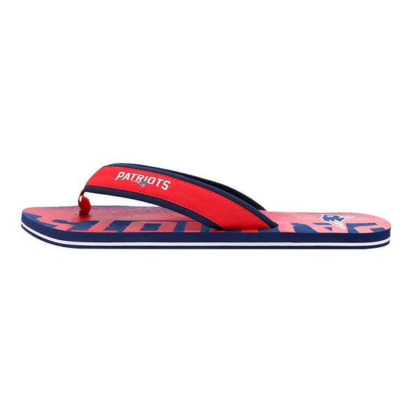 FOCO NFL Men's New England Patriots Contour Fade Wordmark Flip Flop Sandals