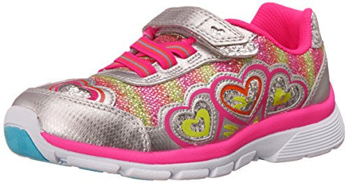 Stride Rite Toddler/Little Kid Joy Sneaker, Silver/Pink