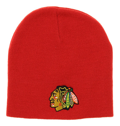 NHL Kids (4-7) Chicago Blackhawks Face Off Skull Knit Beanie Hat, Red OSFM