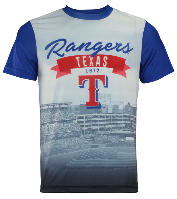 Forever Collectibles MLB Men's Texas Rangers Outfield Photo Tee