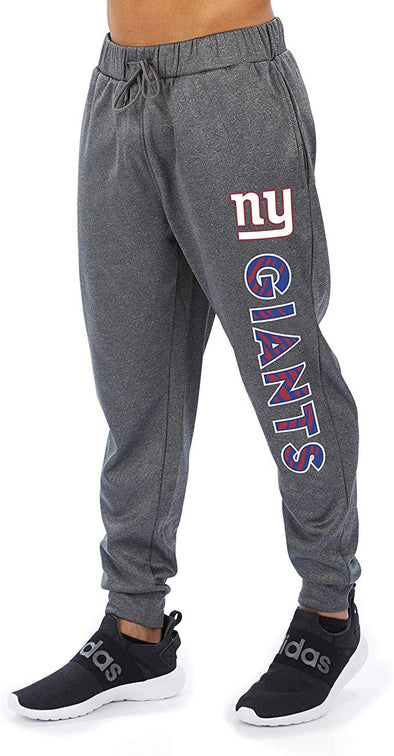Zubaz NFL Football Men's New York Giants Gameday Zebra Wordmark Poly Fleece Jogger Pant