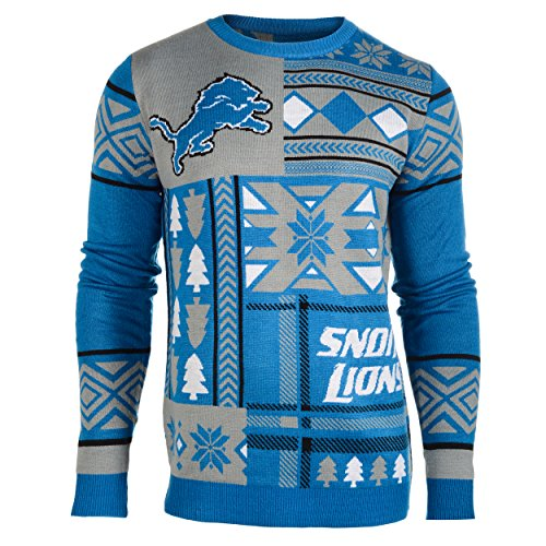 Klew NFL Men's Detroit Lions Patches Ugly Sweater, Blue
