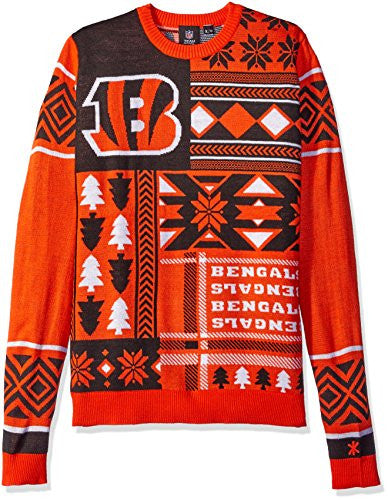 Klew NFL Men's Cincinnati Bengals Patches Ugly Sweater, Orange/Black