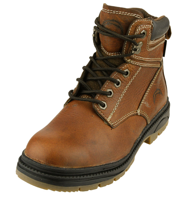 NFL Men's San Diego Chargers Rounded Steel Toe Lace Up Leather Work Boots - Brown