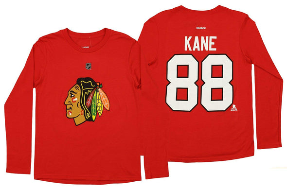 Reebok NHL Youth Chicago Blackhawks Patrick Kane #88 Long Sleeve Player Tee, Red