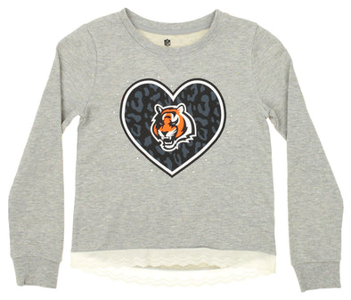 Outerstuff NFL Girls Youth Cincinnati Bengals Rhinestone Lace Fleece Crew Sweater, Grey
