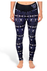 NCAA Women's Washington Huskies Aztec Print Leggings, Black
