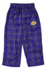 NBA Basketball Little Boys Kids Los Angeles Lakers Plaid Lounge Pajama Pants, Purple