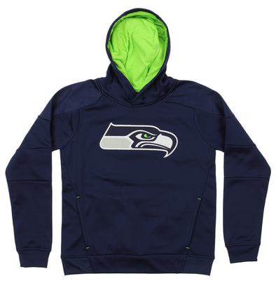 OuterStuff NFL Youth Seattle Seahawks Mach Speed Pullover Hoodie, Navy