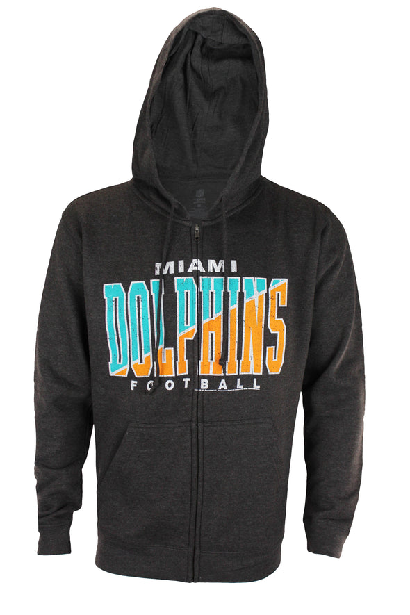 Miami Dolphins NFL Football Mens Split Formation Fleece Hoodie, Gray