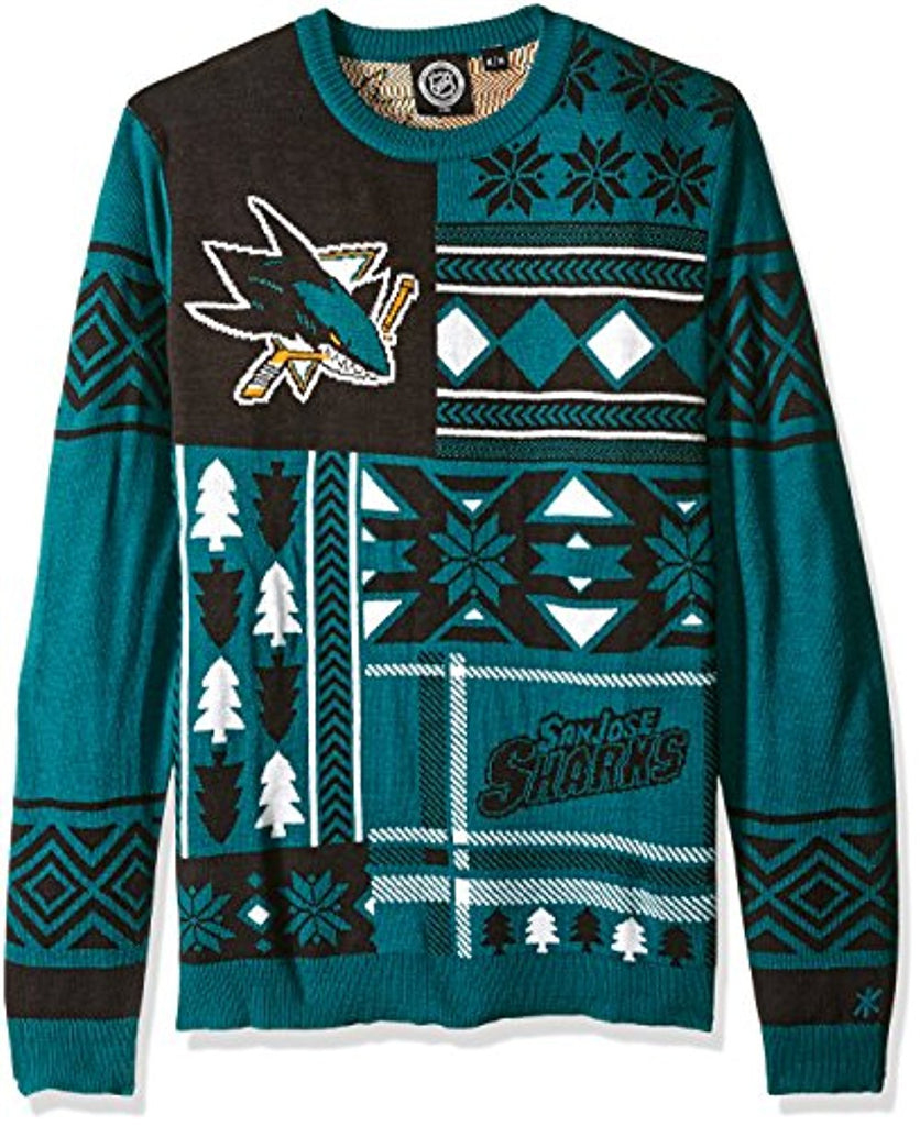 756c85d0 Klew NHL Men's San Jose Sharks Patches Ugly Sweater, Teal – Fanletic