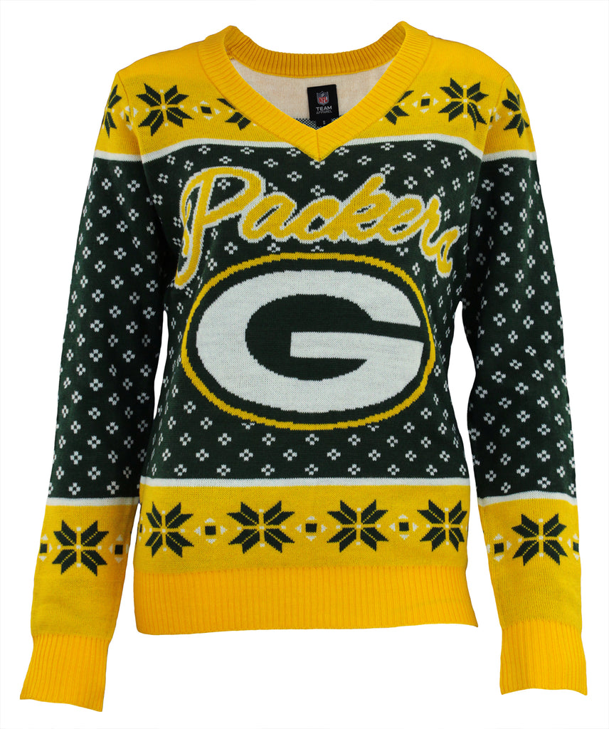 f4606c85 Forever Collectibles NFL Women's Green Bay Packers Big Logo V-Neck Sweater