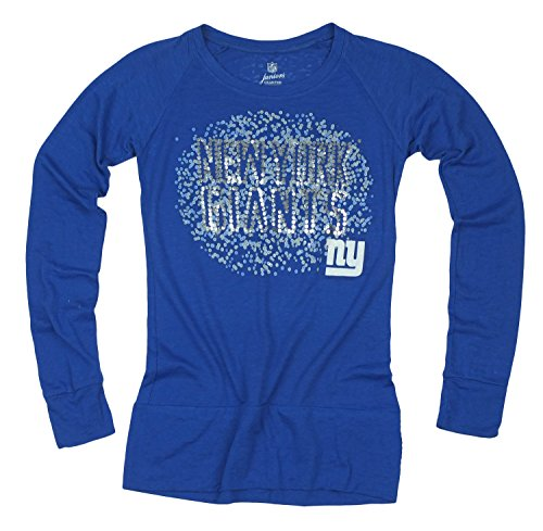 NFL Football Juniors New York Giants Galaxy Scoop Long Sleeve Shirt, Blue
